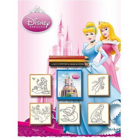 Disney Hercegnők 5 db-os nyomdaszett ceruzákkal