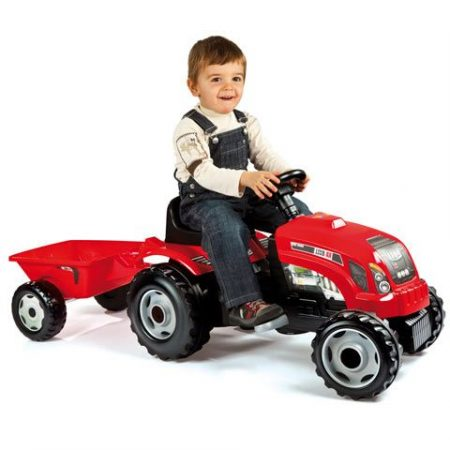 Smoby Bull traktor utánfutóval piros színben